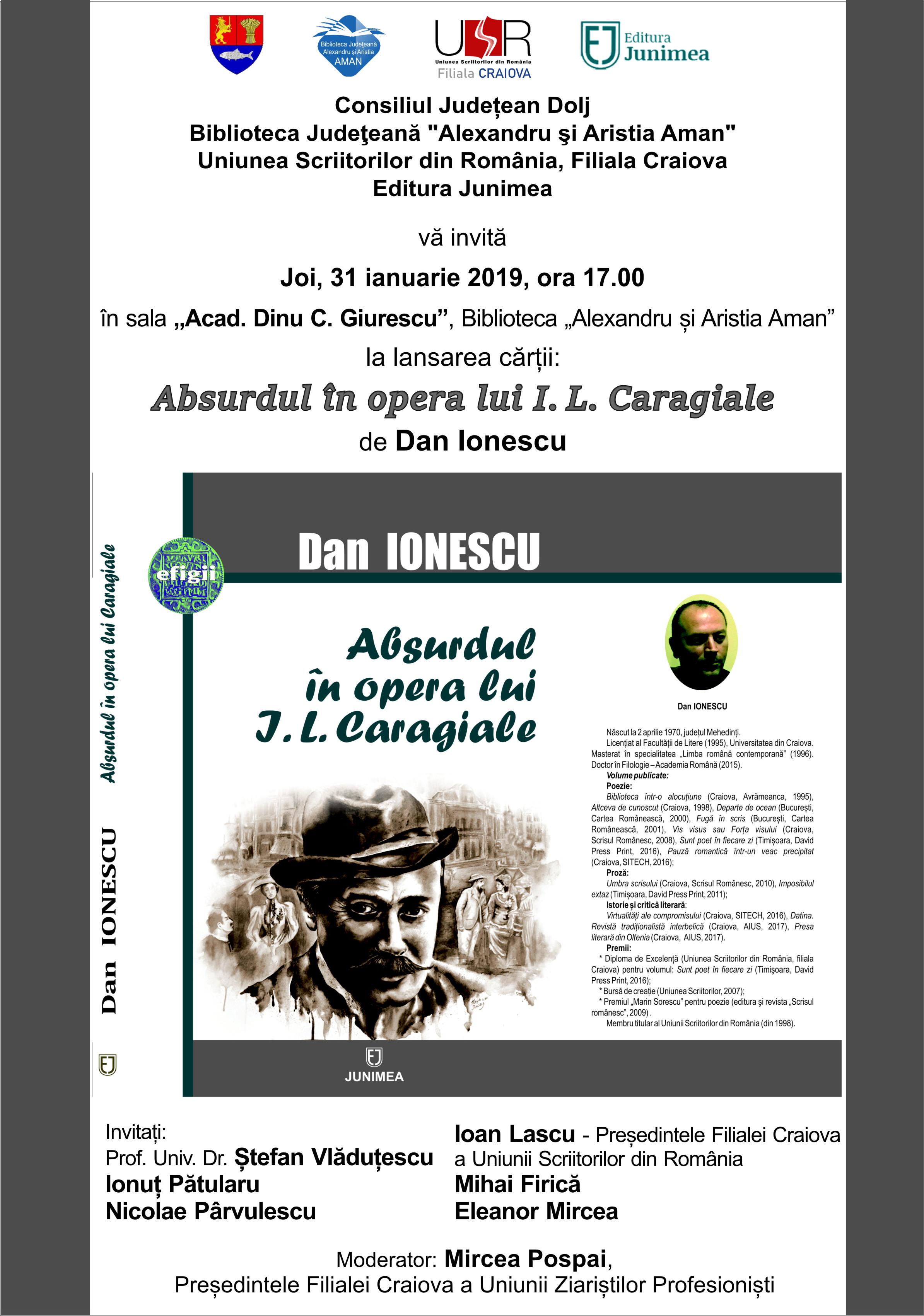 """Lansarea volumului """"Absurdul în opera lui I. L. Caragiale"""" de Dan Ionescu"""