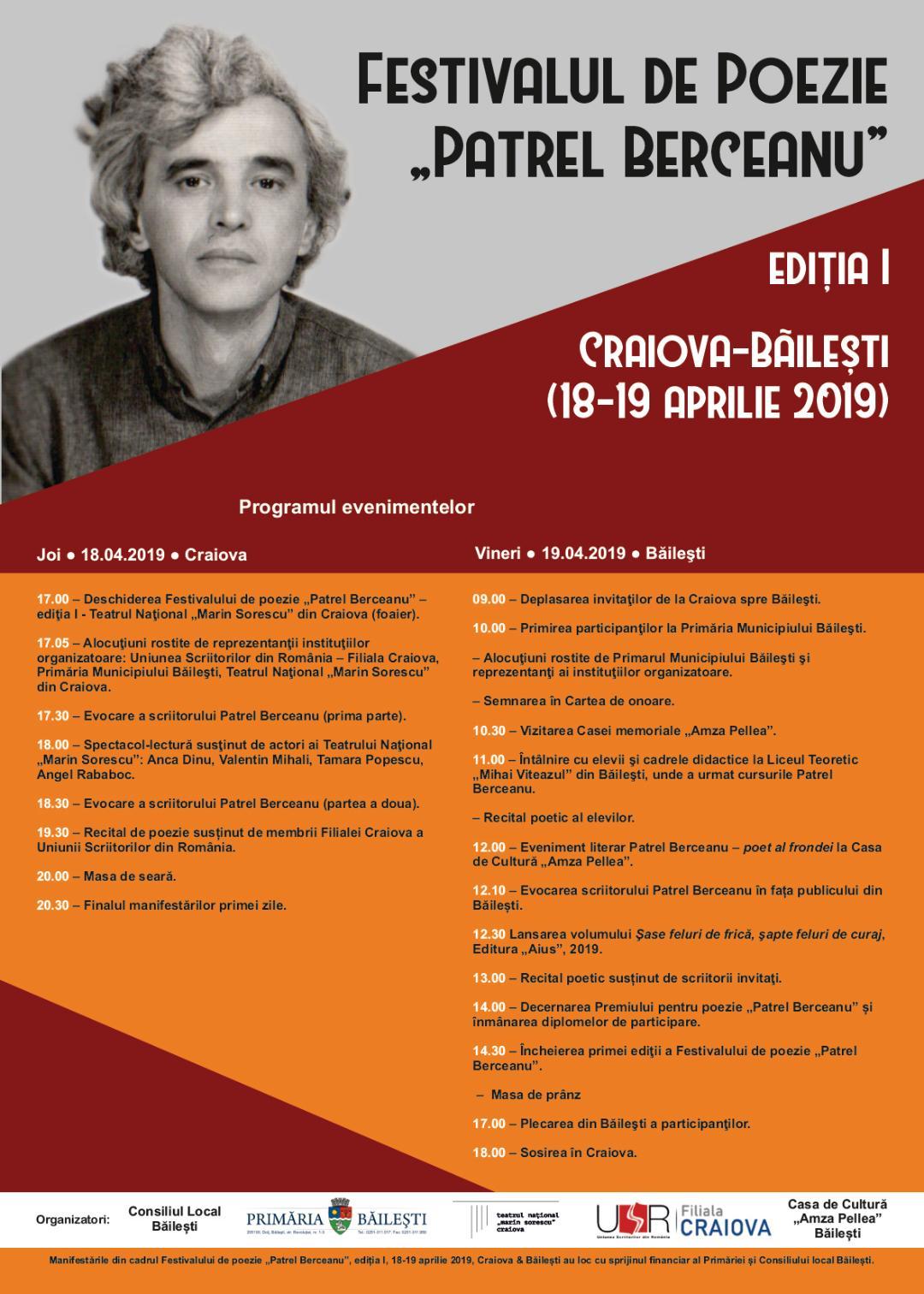 Festivalul de Poezie Patrel Berceanu debutează joi, de la ora 17, la Teatrul Național Marin Sorescu
