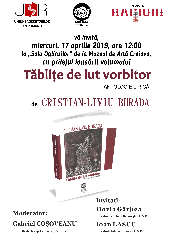 """Antologia de poezie """"Tăbliţe de lut vorbitor"""" de Cristian Liviu Burada, lansare la Muzeul de Artă din Craiova"""