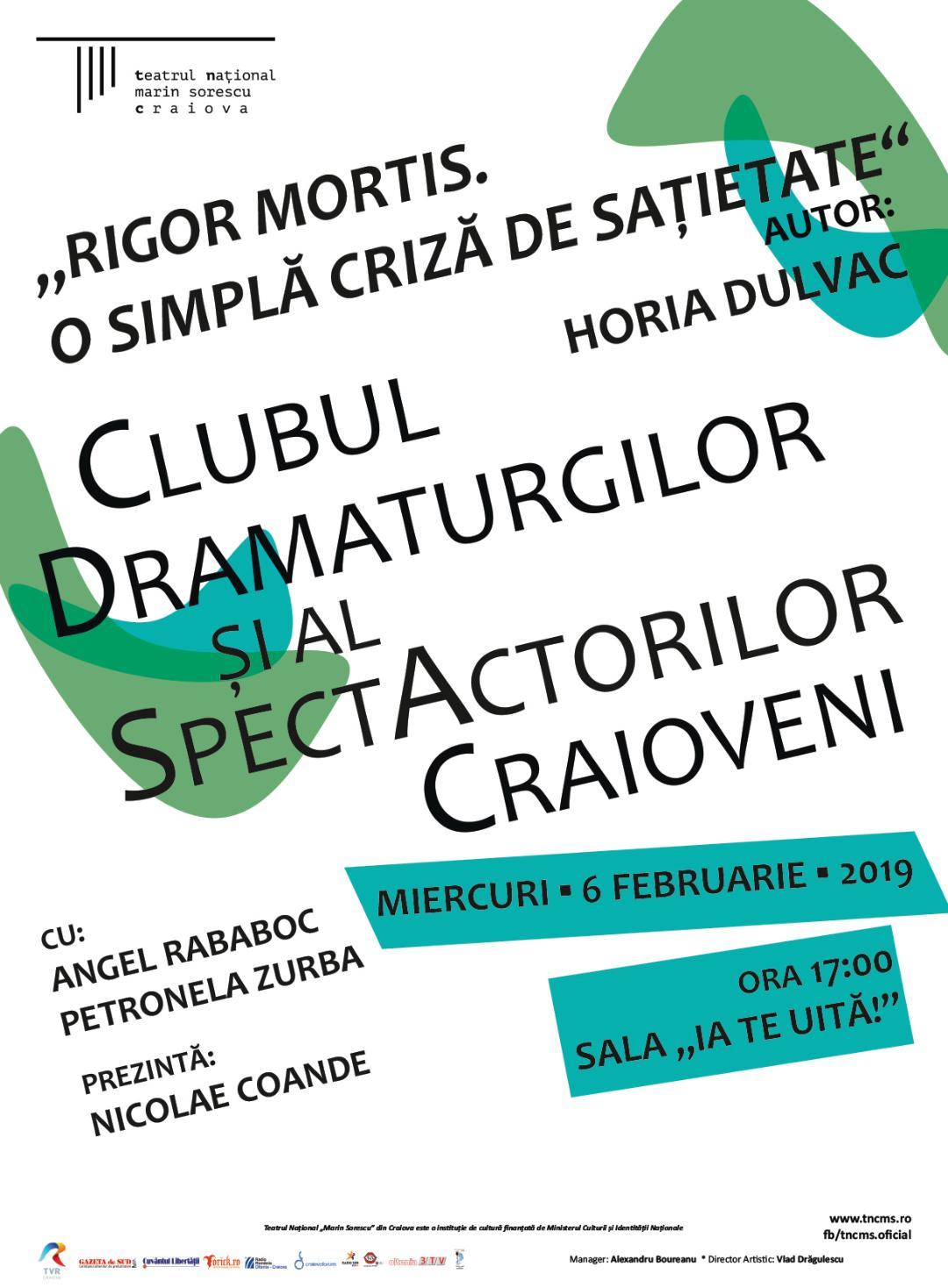 Prima întâlnire din 2019 la Clubul Dramaturgilor Craioveni