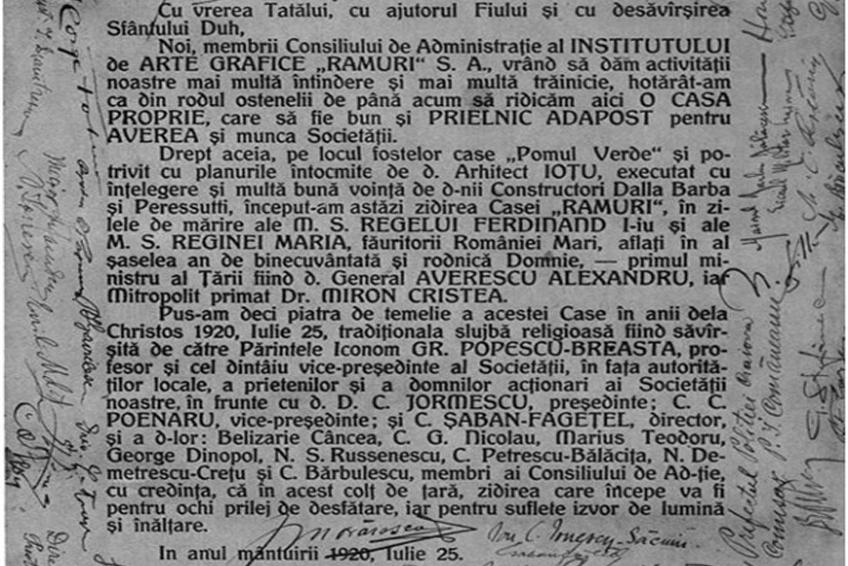 Document asezare piatra de temeile Palatul Ramuri Craiova