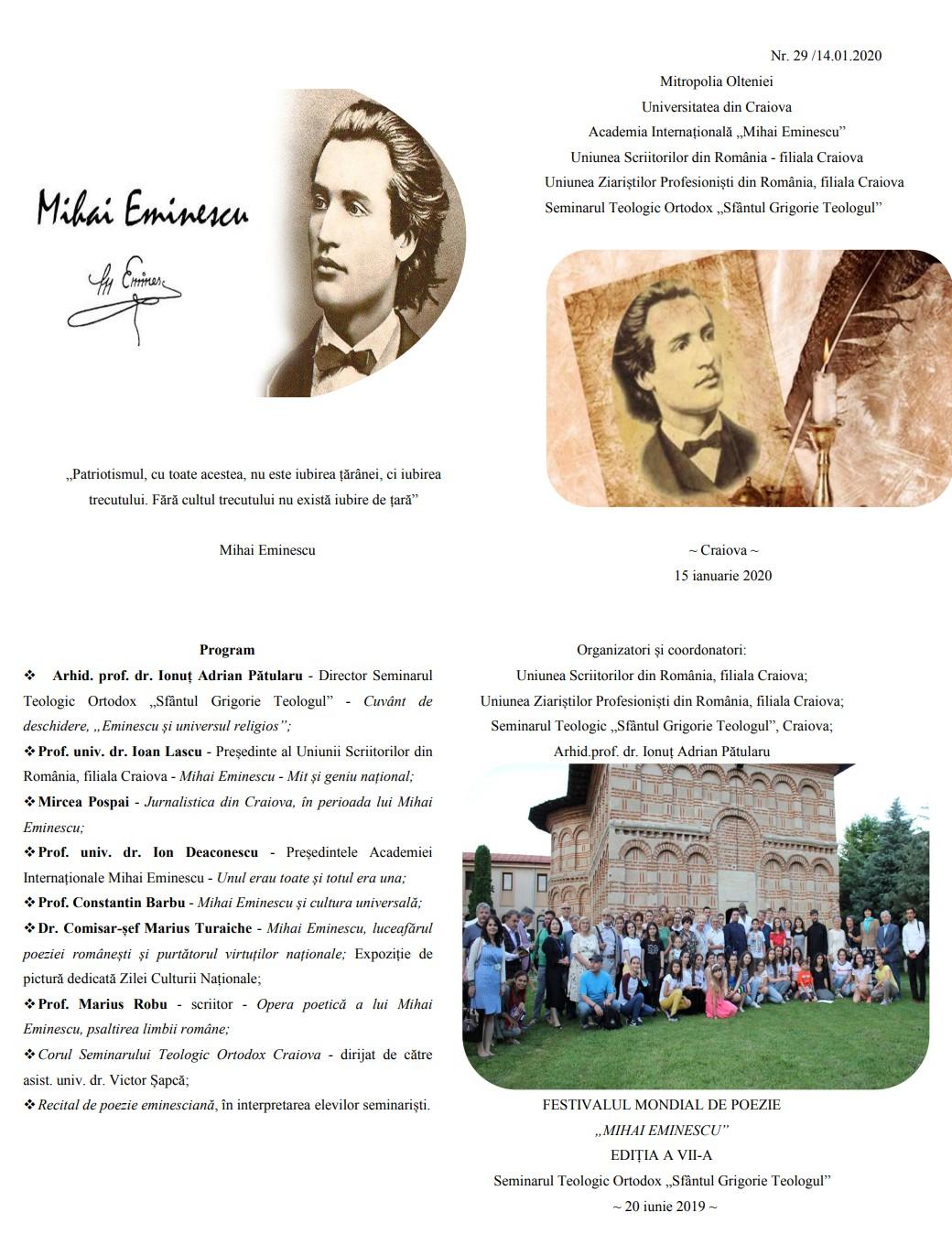 Foto 170 de ani de Mihai Eminescu