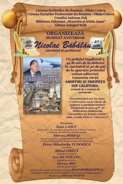 Ziaristul și scriitorul Nicolae Băbălău, lansare și aniversare la Biblioteca Aman din Craiova