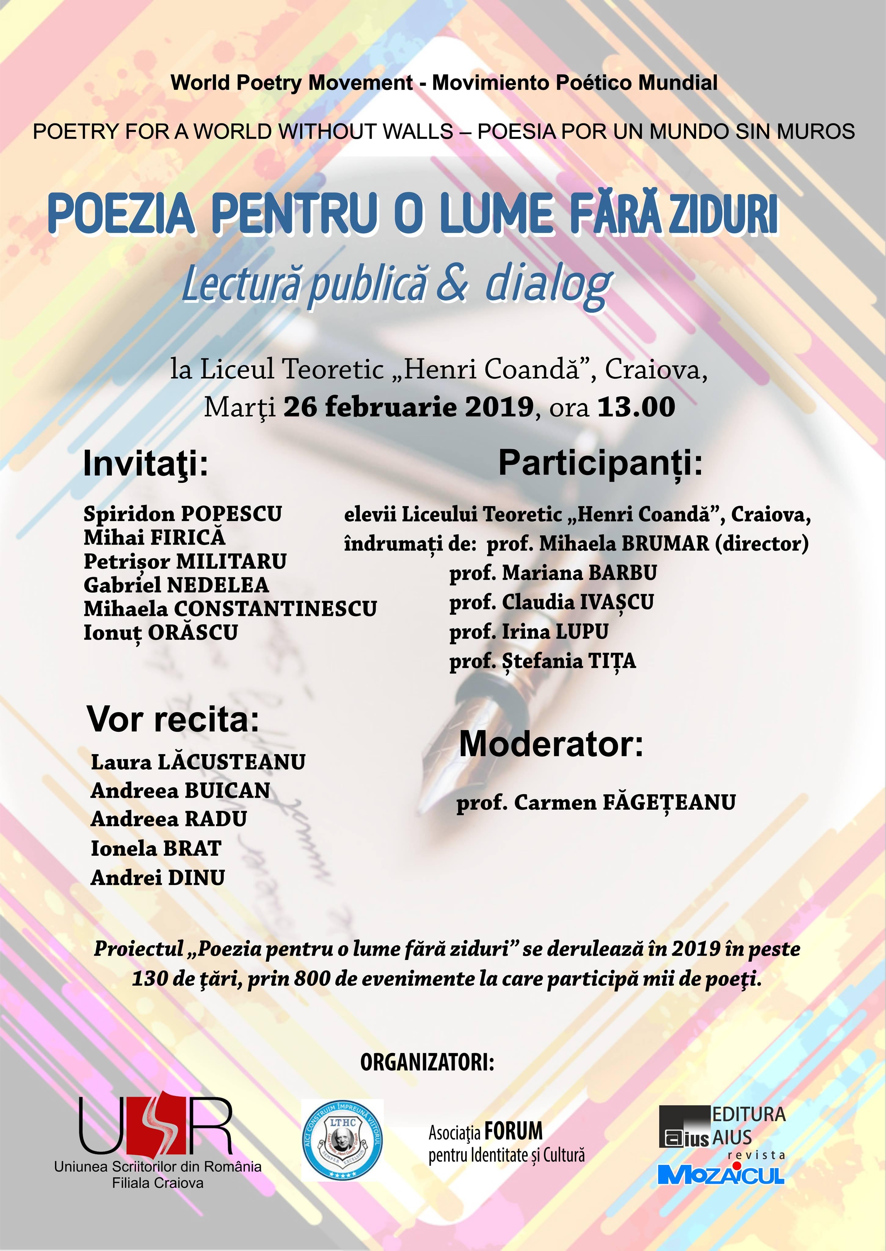 Scriitorii craioveni, la Liceul Teoretic Henri Coandă în cadrul POEZIA PENTRU O LUME FĂRĂ ZIDURI - Lectură publică și dialog