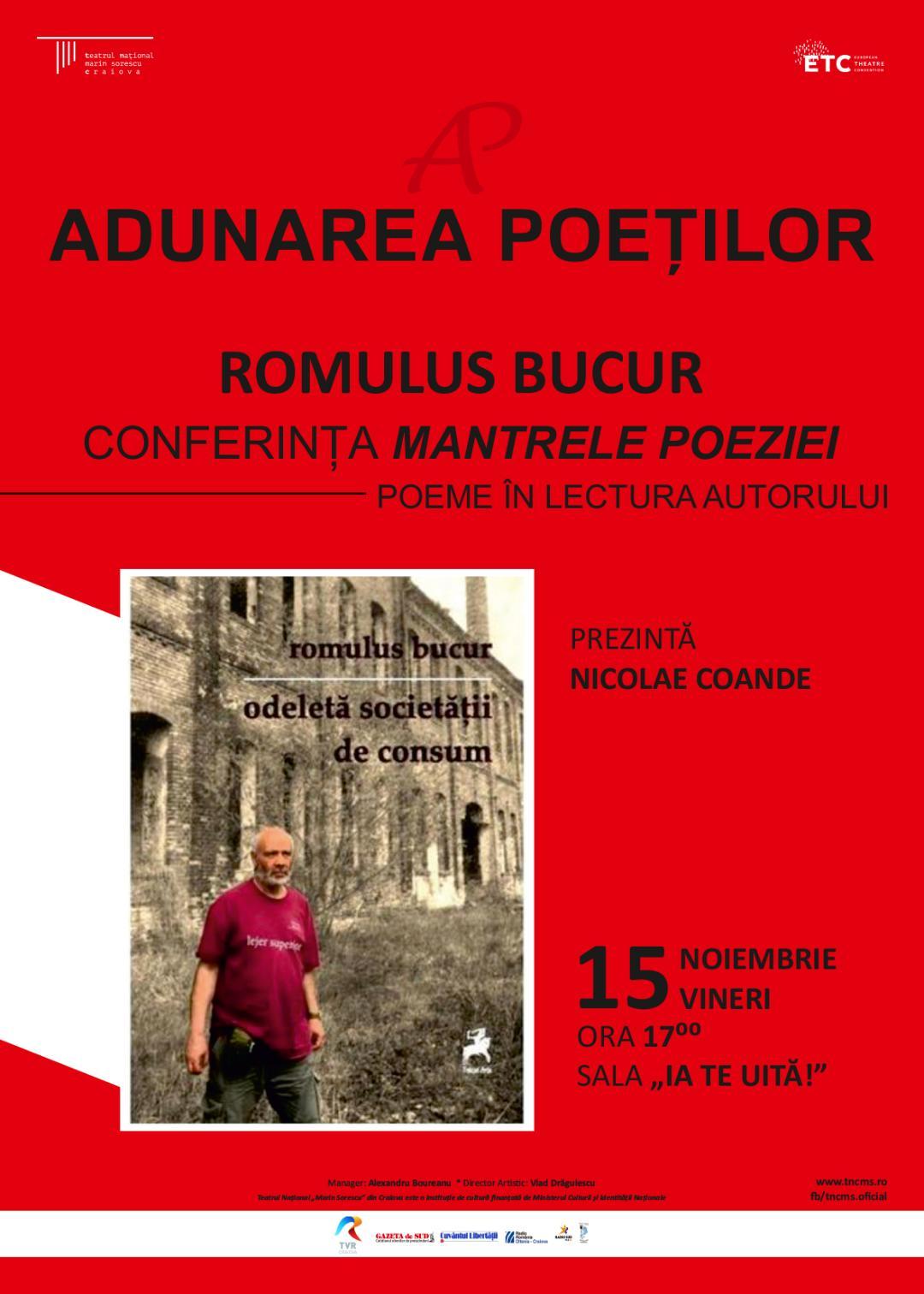Romulus Bucur, invitat la Adunarea Poeților Craioveni